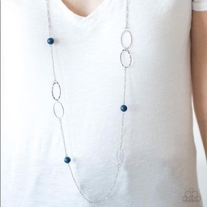 Long necklace silver and blue beads Paparazzi